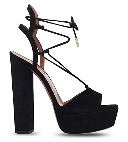 AQUAZZURA Austin plateau 140 suede heeled sandals (Black