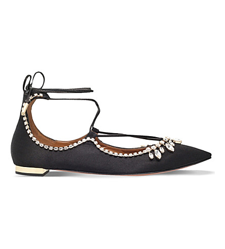 AQUAZZURA Christy embellished satin flats (Black