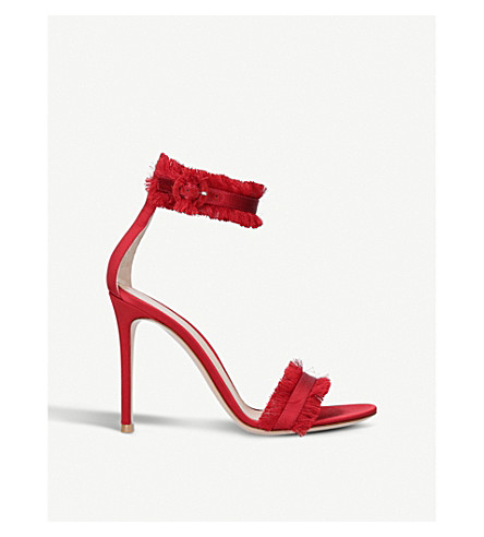GIANVITO ROSSI Lola satin heeled sandals (Red/dark