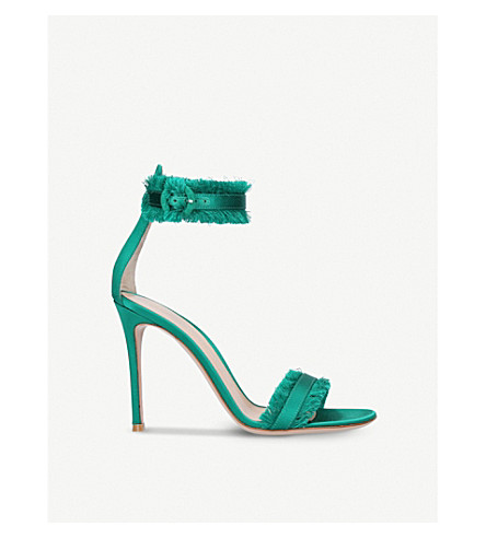 GIANVITO ROSSI Lola frayed-trim satin sandals (Green