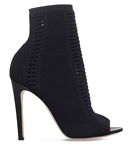 GIANVITO ROSSI Vires peep-toe leather boots (Black