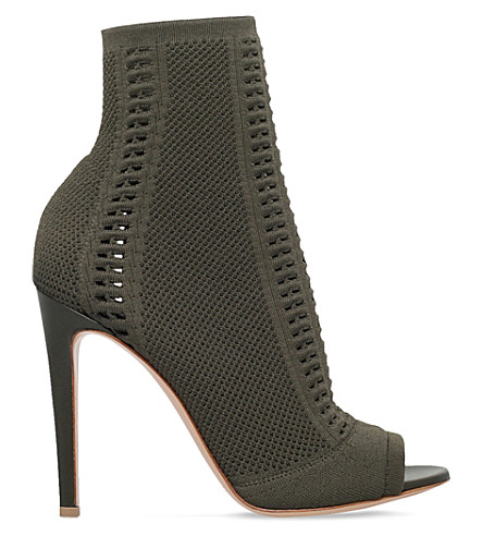 GIANVITO ROSSI Vires 100 stretch-knit shoe boots (Khaki