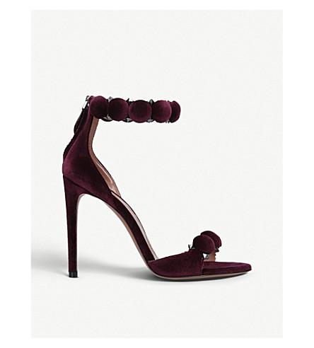 AZZEDINE ALAIA Bombe 110 spike-embellished velvet sandals (Purple