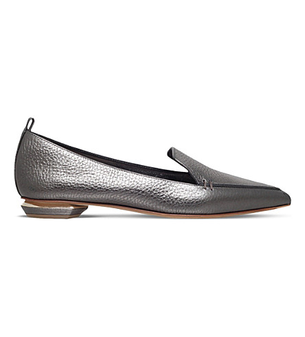 NICHOLAS KIRKWOOD Beya metallic-leather slippers (Pewter