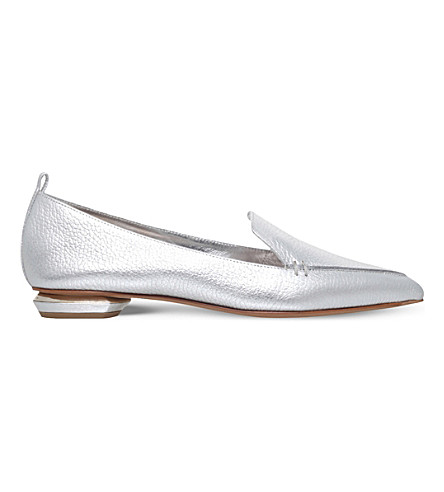 NICHOLAS KIRKWOOD Beya metallic-leather slippers (Silver