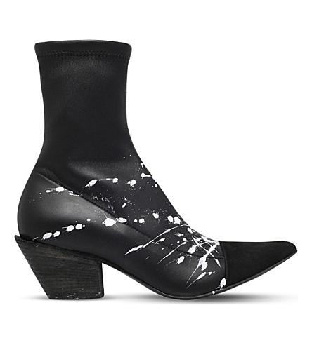 HAIDER ACKERMANN Paint splatter-print leather ankle boots (Blk/white