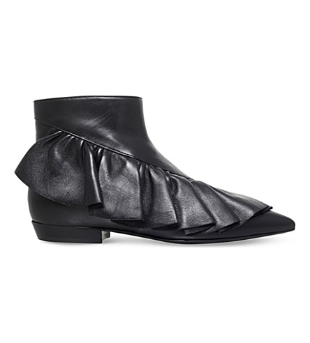 JW ANDERSON Ruffle leather booties (Black