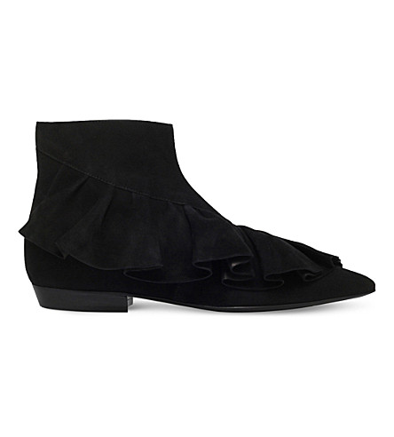 JW ANDERSON Ruffle suede ankle boots (Black