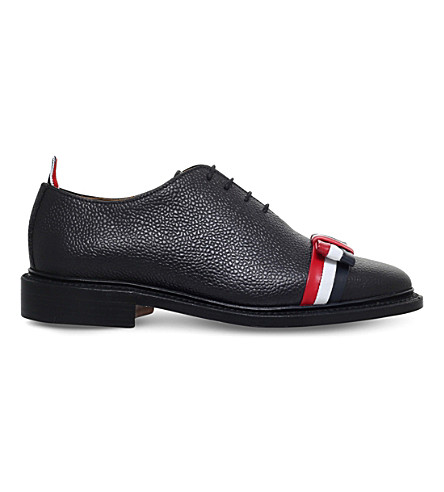 THOM BROWNE Wholecut bow detail leather shoes (Blk/other