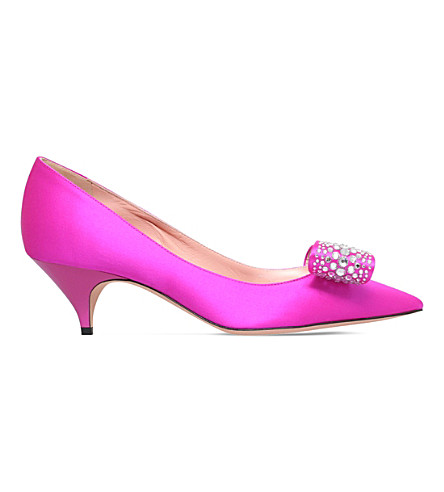 ROCHAS Embellished satin courts (Pink