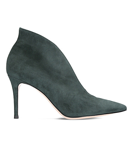 GIANVITO ROSSI Vania suede heeled ankle boots (Dark+green