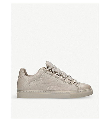 BALENCIAGA Arena leather low-top trainers (Grey+mid