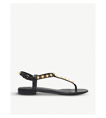 BALENCIAGA Giant Gold Strap Sandals (Black