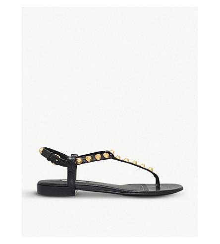 巴黎世家巨型金带凉鞋 (黑色