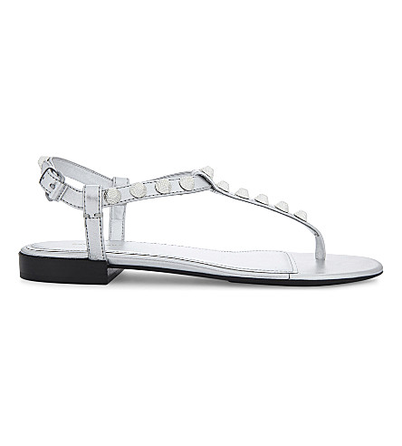 BALENCIAGA Gwen leather sandals (Silver
