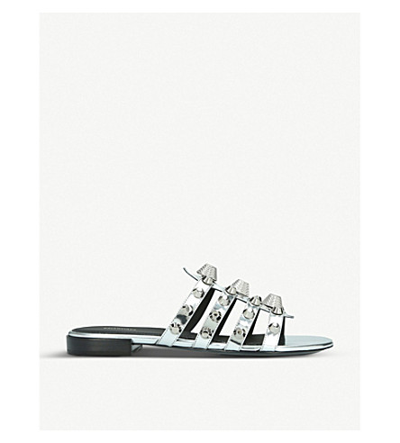 BALENCIAGA Giant Silver leather sliders (Silver