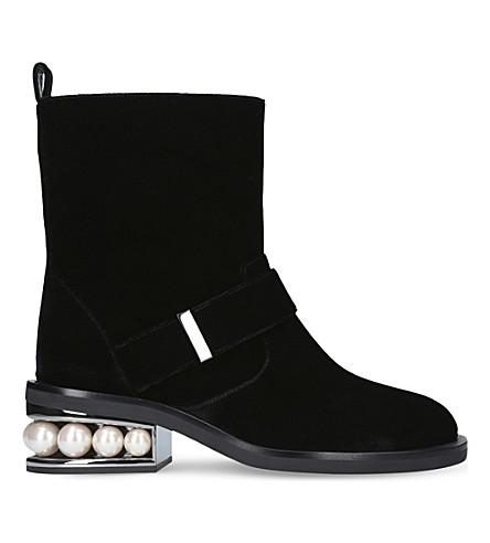 NICHOLAS KIRKWOOD Casati biker velvet ankle boots (Black