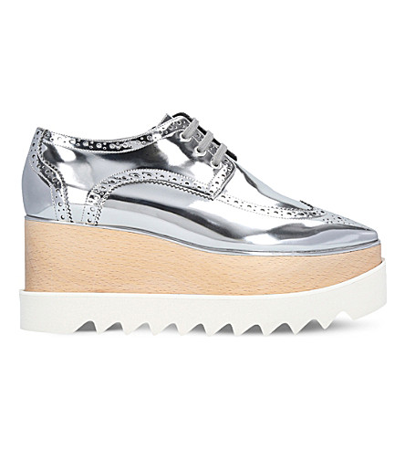 STELLA MCCARTNEY Elyse faux-leather flatform brogues (Silver
