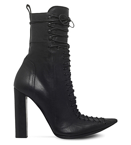 HAIDER ACKERMANN Laced leather heeled ankle boots (Black
