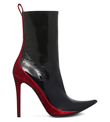 HAIDER ACKERMANN Velvet-panel patent-leather heeled ankle boots (Blk/red