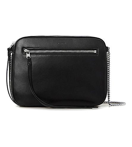 ALLSAINTS Fleur de Lis leather cross-body bag (Black