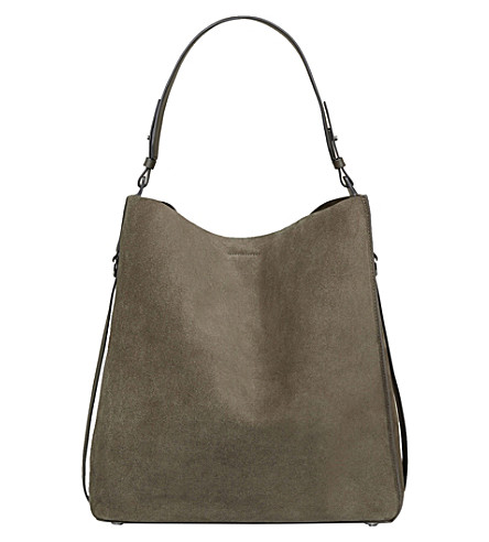 ALLSAINTS Paradise North South leather tote bag (Mink+grey