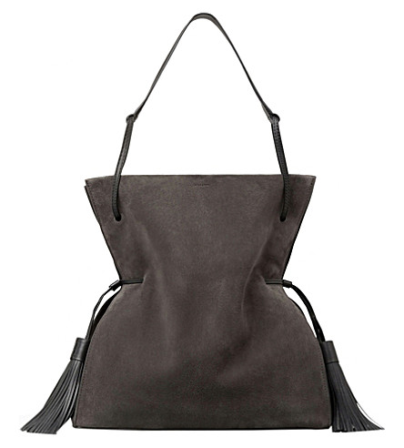 ALLSAINTS Freedom Hobo suede slouchy bag (Graphite+grey