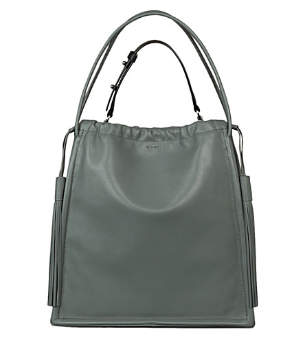 ALLSAINTS Dive North South leather tote bag (Light+slate+bl
