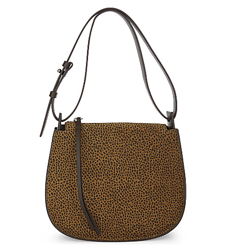 ALLSAINTS Echo Mini suede hobo bag (Caramel/blackb