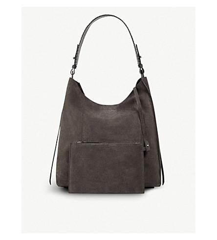 ALLSAINTS Billie suede tote bag (Slate+grey