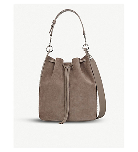 ALLSAINTS Billie suede bucket bag (Almond+brown