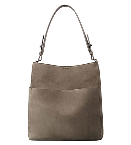 ALLSAINTS Echo nubuck leather tote bag (Ash+grey