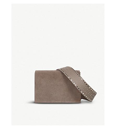 ALLSAINTS Billie mini cross-body suede bag (Almond+brown