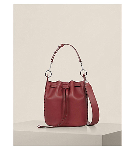 ALLSAINTS Ray leather bucket bag (Berry+red