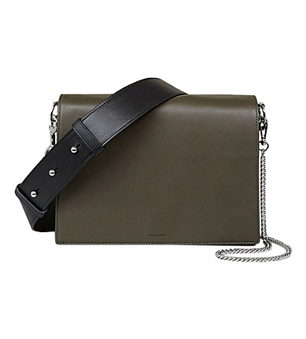 ALLSAINTS Zep Lea leather shoulder bag (Dark+khaki