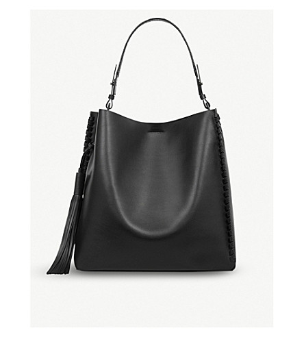 ALLSAINTS Kepi North South leather tote (Black