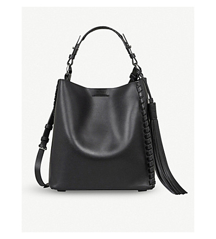 ALLSAINTS Kepi leather shoulder bag (Black