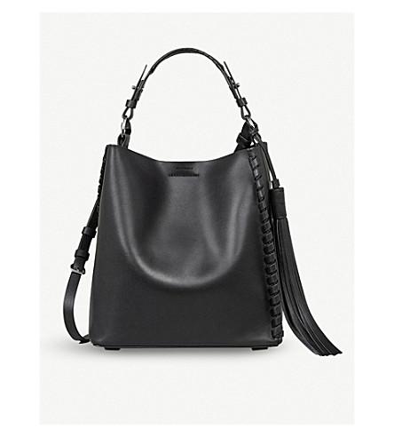 ALLSAINTS Kepi North South leather shoulder bag (Black