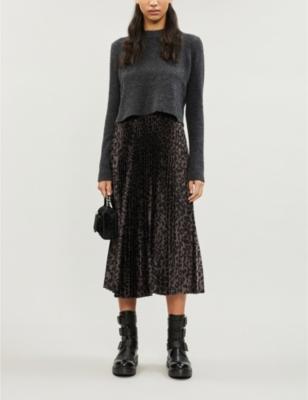 Leowa leopard-print wool and satin-crepe midi dress