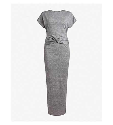 ALLSAINTS Paloma knotted cotton-jersey midi dress (Charcoal+grey