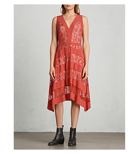 ALLSAINTS Gwen lace woven dress (Coral+red