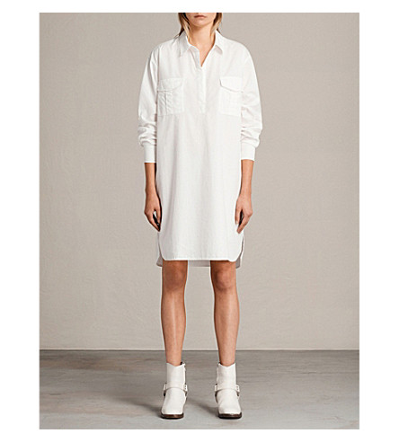ALLSAINTS Lamont cotton shirt dress (Chalk+white