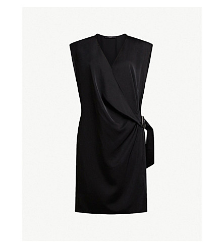 ALLSAINTS Callie buckle-detail woven dress (Black
