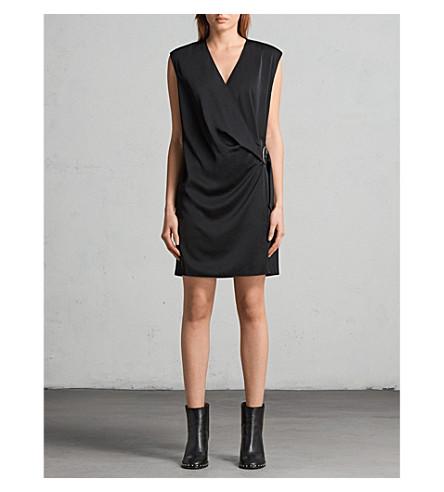 ALLSAINTS Callie buckle-detail woven dress (Black