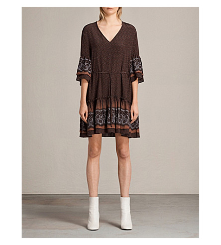 ALLSAINTS Anokhi floral-print silk dress (Burgundy