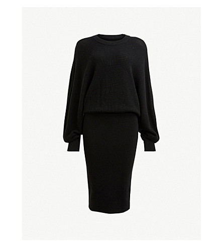 ALLSAINTS Gene batwing-sleeve wool dress (Black