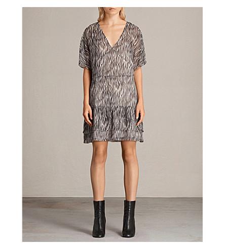 ALLSAINTS Marley zebra-print woven dress (Oyster+white/b