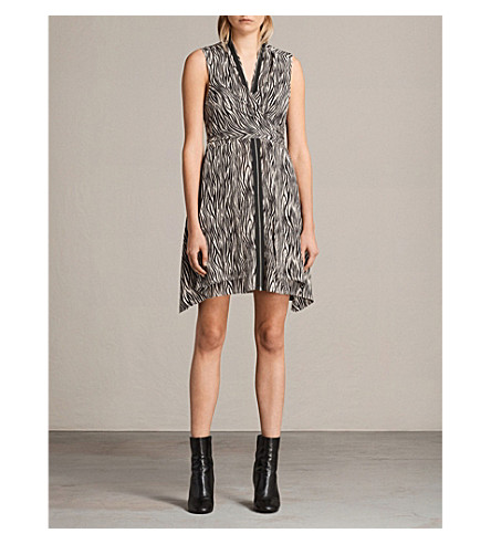 ALLSAINTS Jayda silk dress (Oyster+white/b