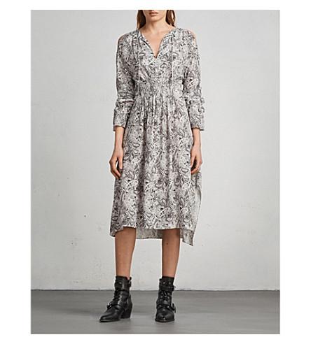ALLSAINTS Lavete cold-shoulder printed silk midi dress (White