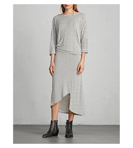 ALLSAINTS Cadie striped jersey dress (Ecru+white/bla